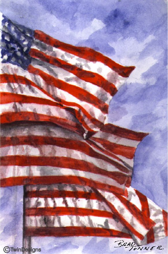 """Three Flags"" Boxed Note Cards Original Watercolor by Brad Tonner"