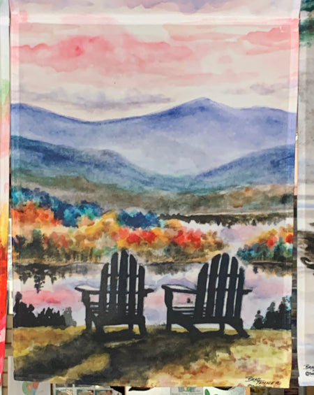 """Adirondack Sunset"" Garden Flag Original Watercolor by Brad Tonner"