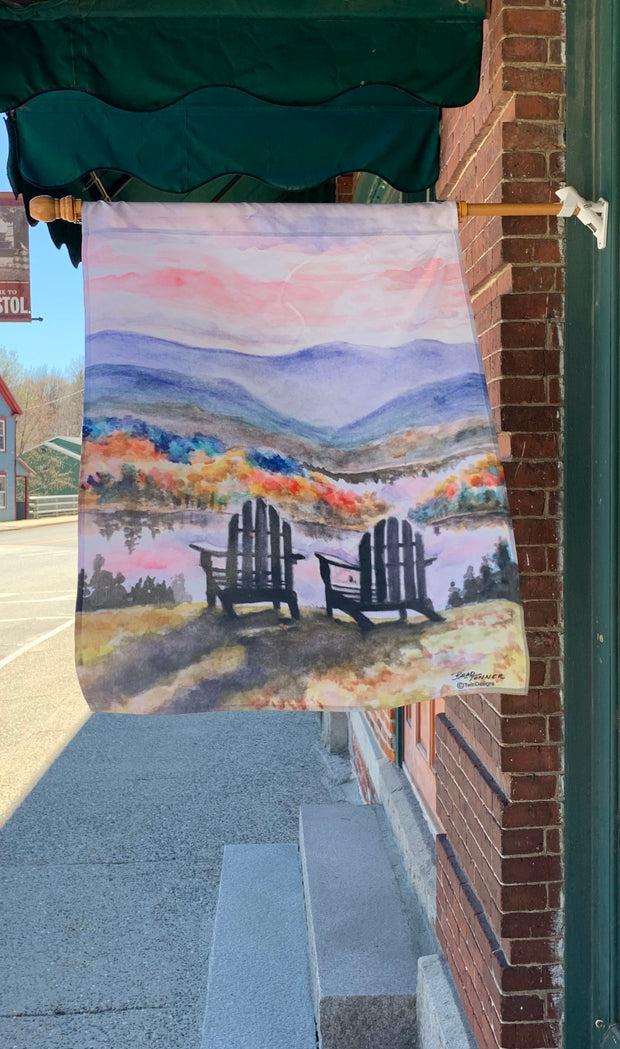 """Adirondack Sunset"" House Flag Original Watercolor by Brad Tonner"