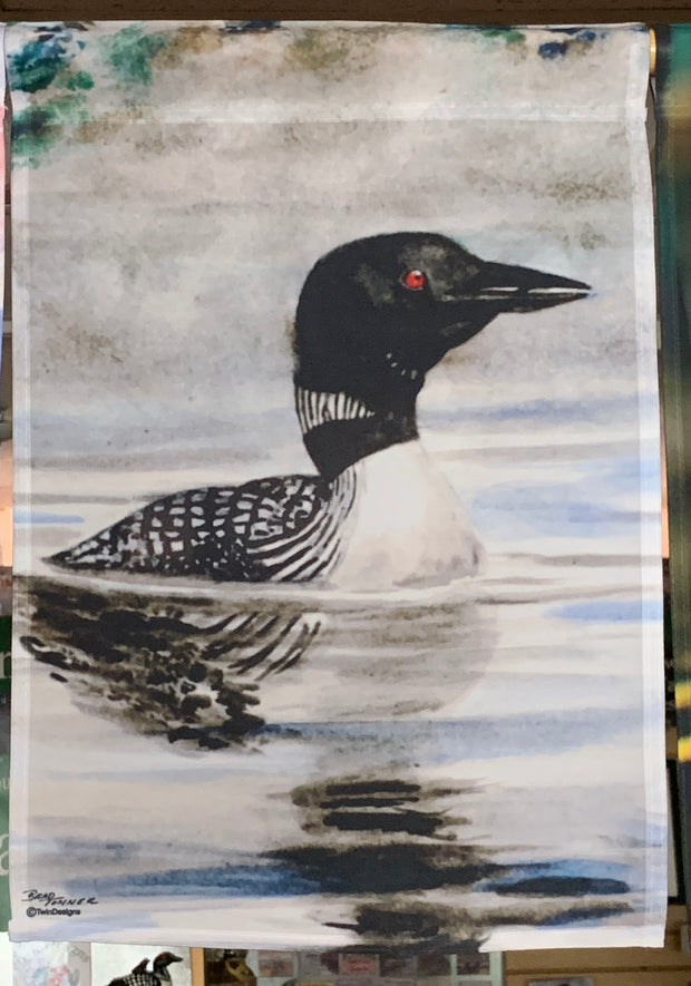 """Loon"" Garden Flag Original Watercolor by Brad Tonner"