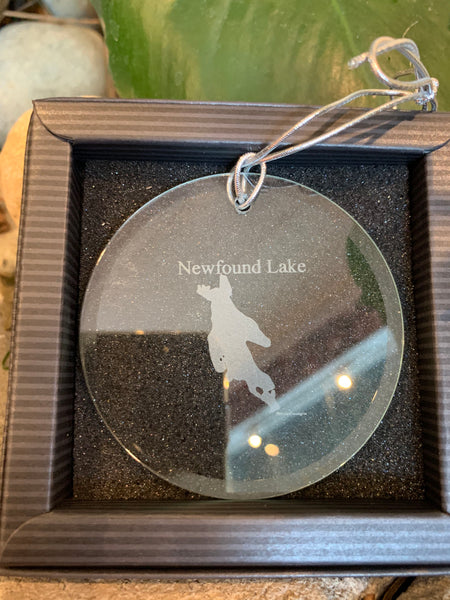 Crystal Newfound Lake Map Ornament 3""