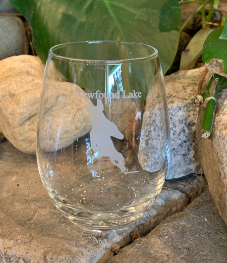 Newfound  Lake Map[ 15oz Stemless Wine Glass
