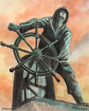"""They that go down to the sea in ships Sunrise Fisherman"". Greeting Card Original Watercolor by Brad Tonner"