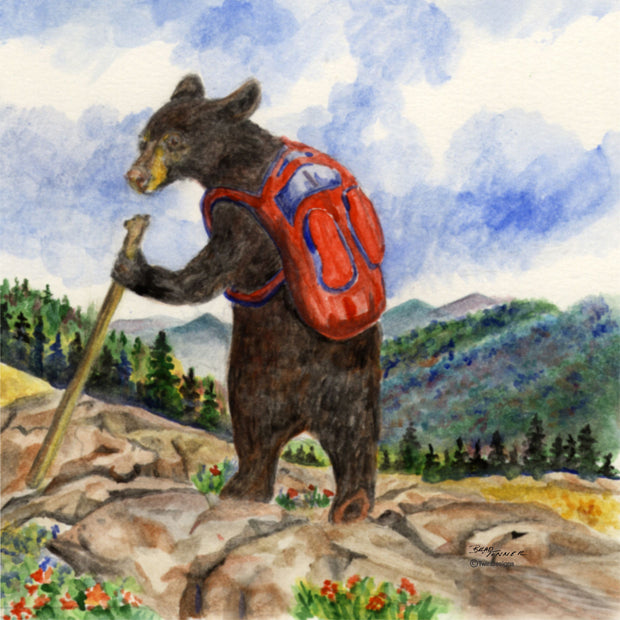 """Bear Hiker"" Ceramic Trivet Original Watercolor by Brad Tonner"