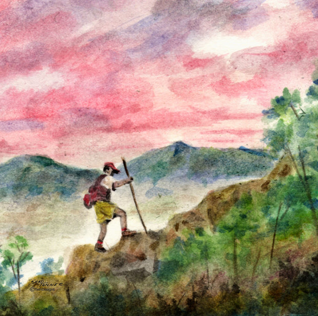 """ Mountain Hiker""  Ceramic Trivet Original Watercolor Brad Tonner"
