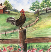 """Country Rooster"" Ceramic Trivet Original Watercolor by Brad Tonner"