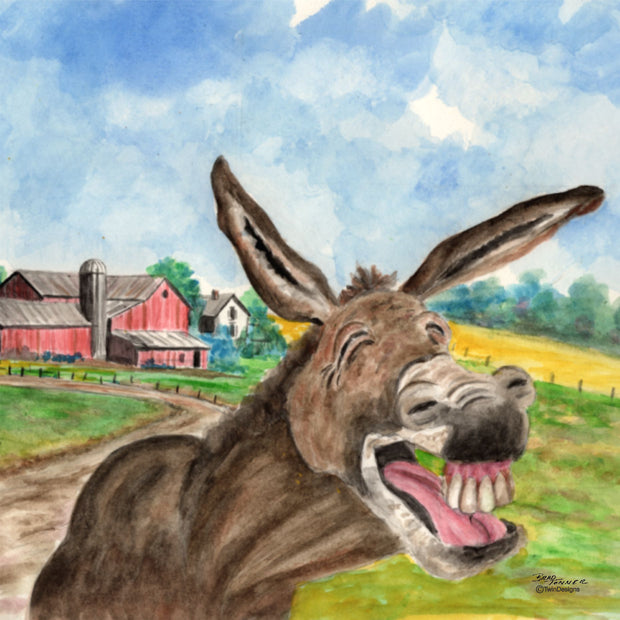 """Laughing Donkey"" Ceramic Trivet Original Watercolor by Brad Tonner"