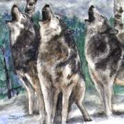 """Howling Wolves""  Ceramic Trivet  Original Watercolor by Brad Tonner"