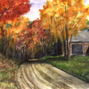 """Fall Road""  Ceramic Trivet Original Watercolor by Brad Tonner"