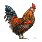 """Rooster"" Ceramic Trivet Original Watercolor by Brad Tonner"