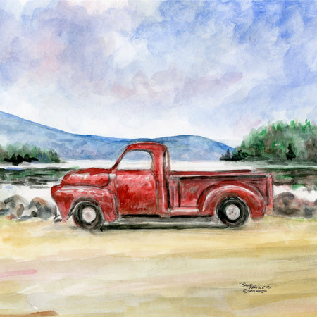 """Red Truck Afternoon""  Ceramic Trivet Original Watercolor Brad Tonner"