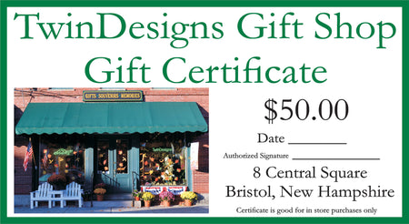 $50.00 TwinDesigns Gift Shop Gift Certificate