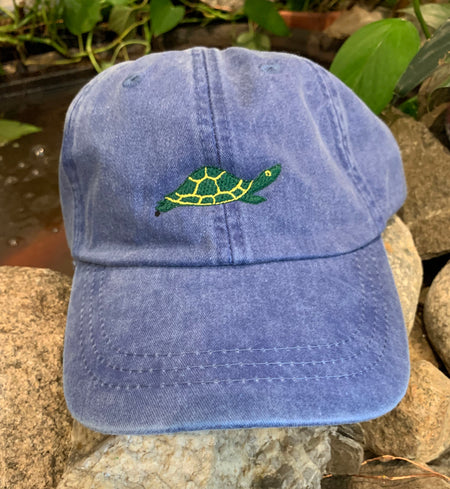 Diane the Turtle Embroidered Turtle Adult Hat Blue