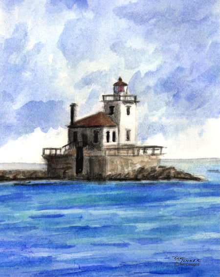 Oswego New York Lighthouse Boxed Note Cards Original Watercolor by Brad Tonner