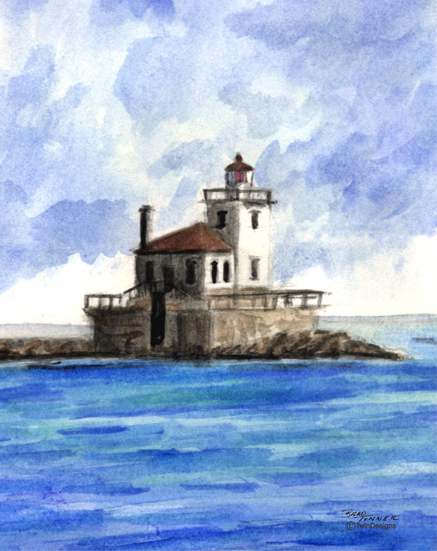 """Oswego Lighthouse New York"" Greeting Cards Original Watercolor by Brad Tonner."