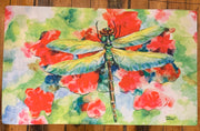 "Dragonfly Floor Mat Original Watercolor by Brad Tonner. 30""  18"""