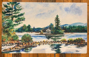 "Loon Island Newfound Lake New Hampshire Floor Mat Original Watercolor by Brad Tonner. 30""  18"""