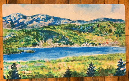 "Iconic Newfound Lake New Hampshire Floor Mat Original Watercolor by Brad Tonner. 30""  18"""