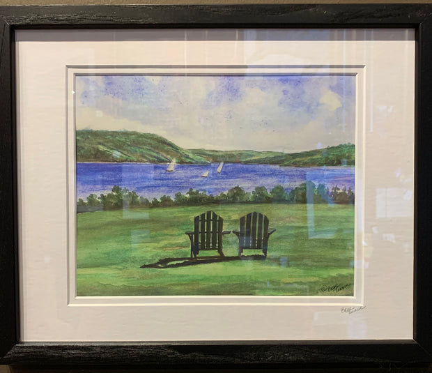 """Lake View"" Framed Print of an Original Watercolor by Brad Tonner"