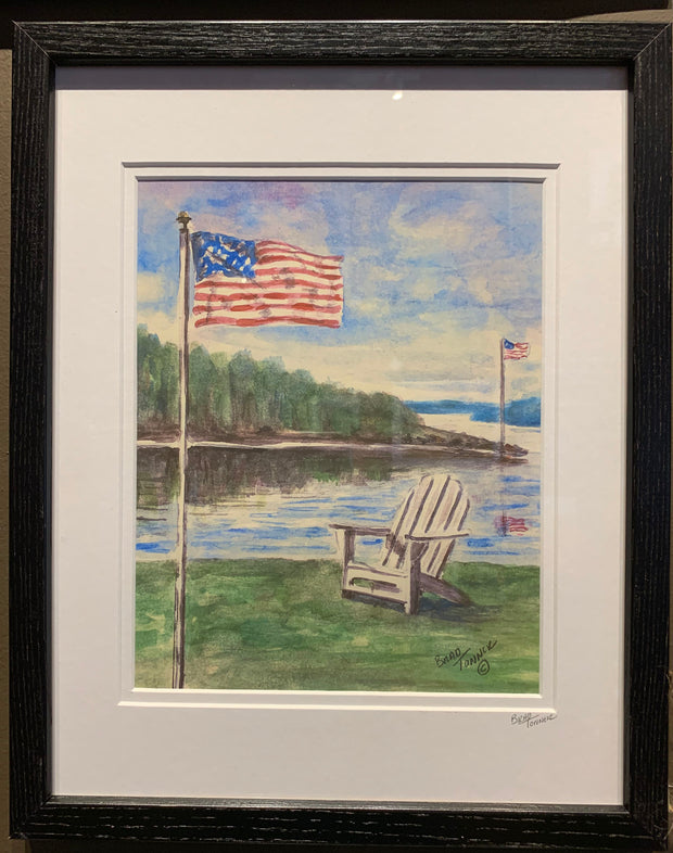 """Patriotic Summer Day"" Framed Print of an Original Watercolor by Brad Tonner"