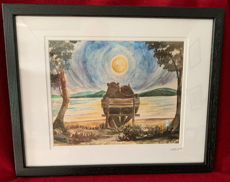 """Anniversary Bears"" Framed Print of an Original Watercolor by Brad Tonner"