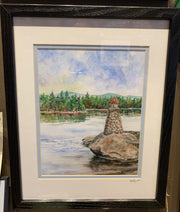 """Newfound Lake New Hampshire Lighthouse"" Framed Print of an Original Watercolor by Brad Tonner"