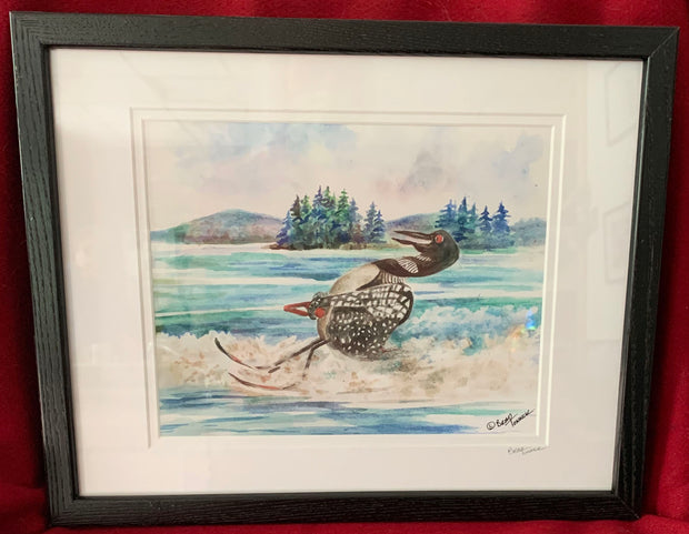 """Water Skiing Loon"" Framed Print of an Original Watercolor by Brad Tonner"