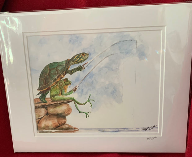 """Fishing Buddies"" Matted Print of an Original Watercolor by Brad Tonner"