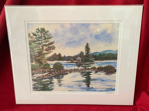 """Loon Island Newfound Lake New Hampshire"" Matted Print of an Original Watercolor By Brad Tonner"