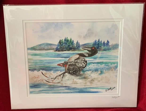 """Loon Water Skiing"" Matted Print of an Original Watercolor by Brad Tonner"