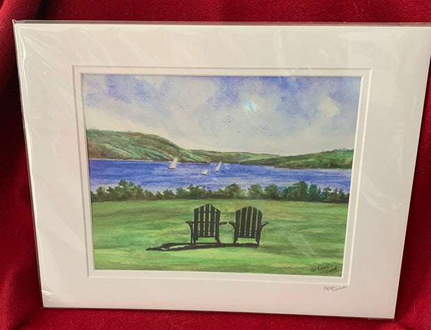 """Lake View"" Matted Print of an Original Watercolor by Brad Tonner"