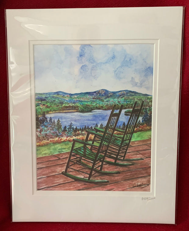 """Rocking at the Lake"" Matted Print of an Original Watercolor by Brad Tonner"