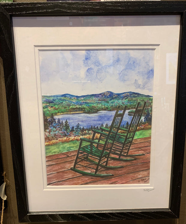 """Rocking at the Lake"" Framed Print of an Original Watercolor by Brad Tonner"