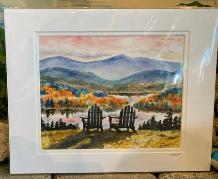 """Adirondack Sunset"" Matted Print of an Original Watercolor by Brad Tonner"