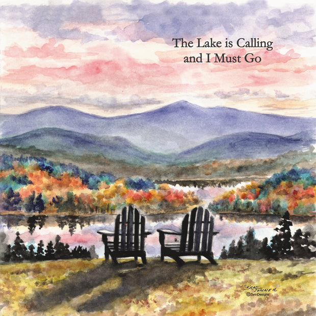 """The Lake is Calling Adirondack Sunset"" Ceramic Tile Trivet"