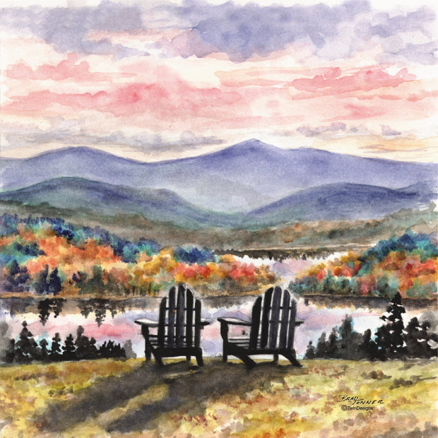 """Adirondack Sunset"" Ceramic Tile Trivet  Original Watercolor by Brad Tonner. 6"" x 6"" Cork Backing."