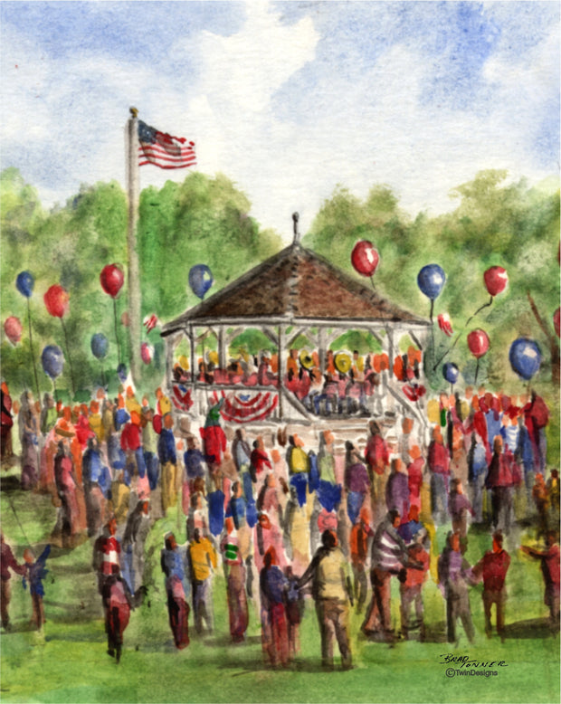 4th of July Bandstand Note Cards