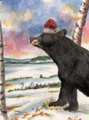 """Santa Christmas Bear"" Boxed Christmas Cards Original Watercolor by Brad Tonner. 10 Cards per Box, Blank Inside 5"" x 7"""