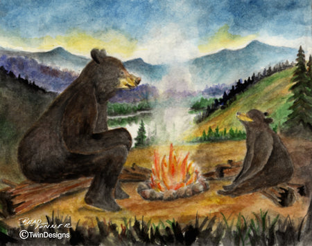 Bear Campfire Note Cards