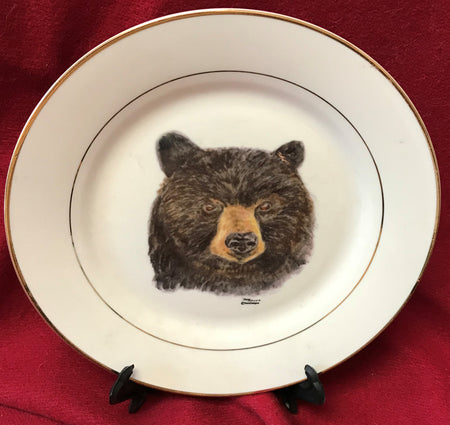 """Bear"" 8""  China Plate featuring an original watercolor by Brad Tonner"