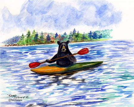 Bear Kayaking Note Cards