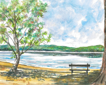 Bench at the Lake Note Card
