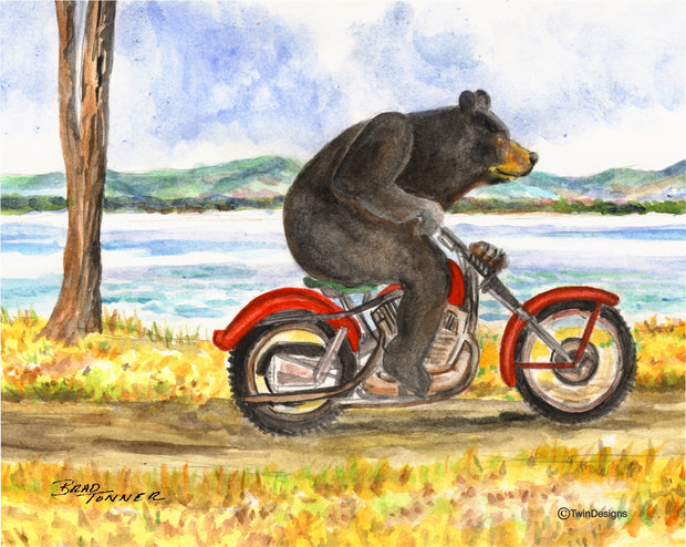 Bear Motorcycle Note Cards
