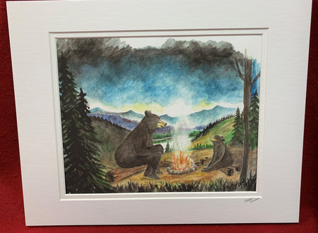 """Bear Campfire"" print of an original Watercolor by Brad Tonner"