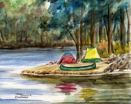 Camping on Waters Edge Note Cards