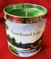 12oz Candle Featuring an Original Watercolor by Brad Tonner of Loon Island Newfound Lake New Hampshire