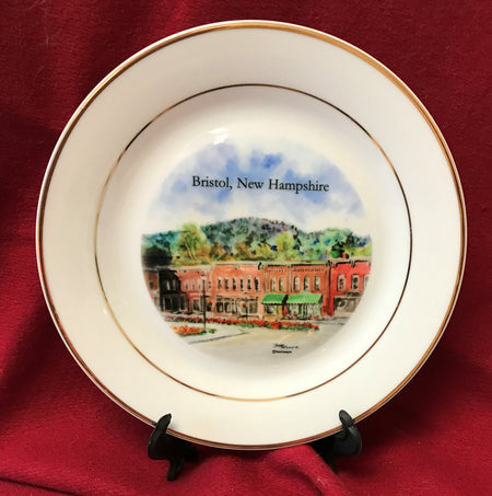"""Central Square Bristol, New Hampshire"" 8""  China Plate featuring an original watercolor by Brad Tonner"