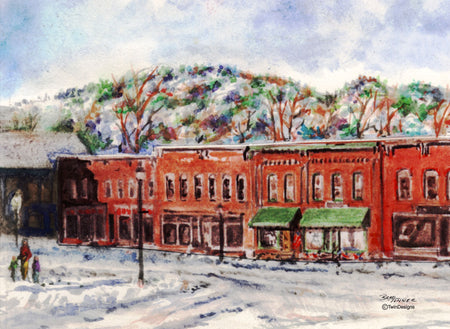 """Christmas Bristol, New Hampshire Boxed Christmas Cards Original Watercolor by Brad Tonner"