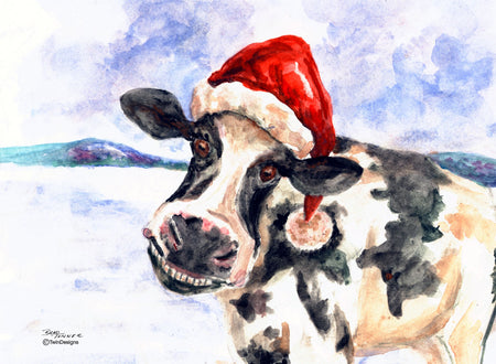 """Christmas Cow"" Boxed Christmas Cards. Original Watercolor by Brad Tonner"