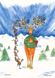 """Christmas Elves"" Boxed Christmas Cards Original Watercolor by Brad Tonner"